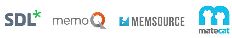 Logos of popular translation software: SDL, memoQ, Memsource, and MateCat