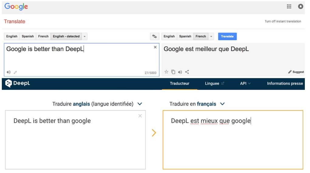 Screenshot of Google Translate vs. DeepL test