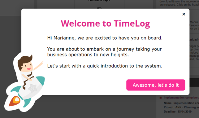 TimeLog Welcome Message